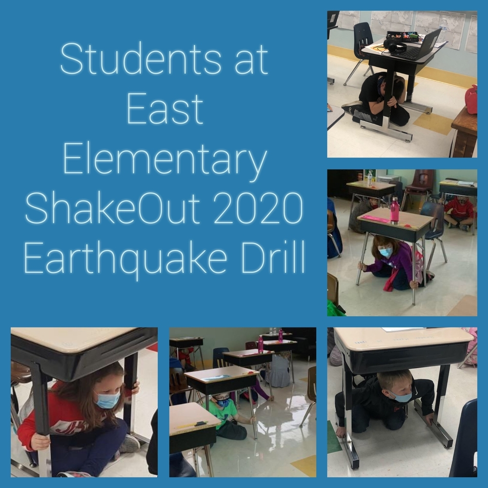 Great ShakeOut Earthquake Drill 2020 at East Elementary.