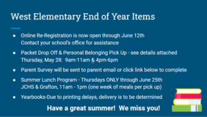 West Elementary End of Year Items for Parents