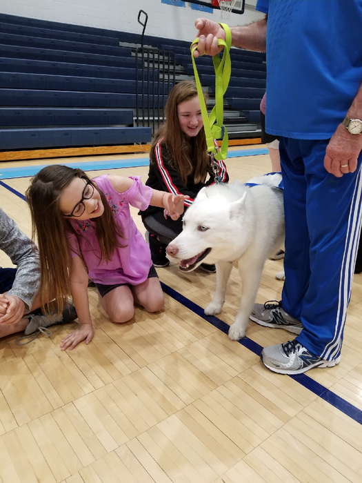 Students got to interact with the dogs.